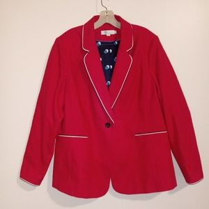 Boden Red Lilah Cotton Blazer 18R